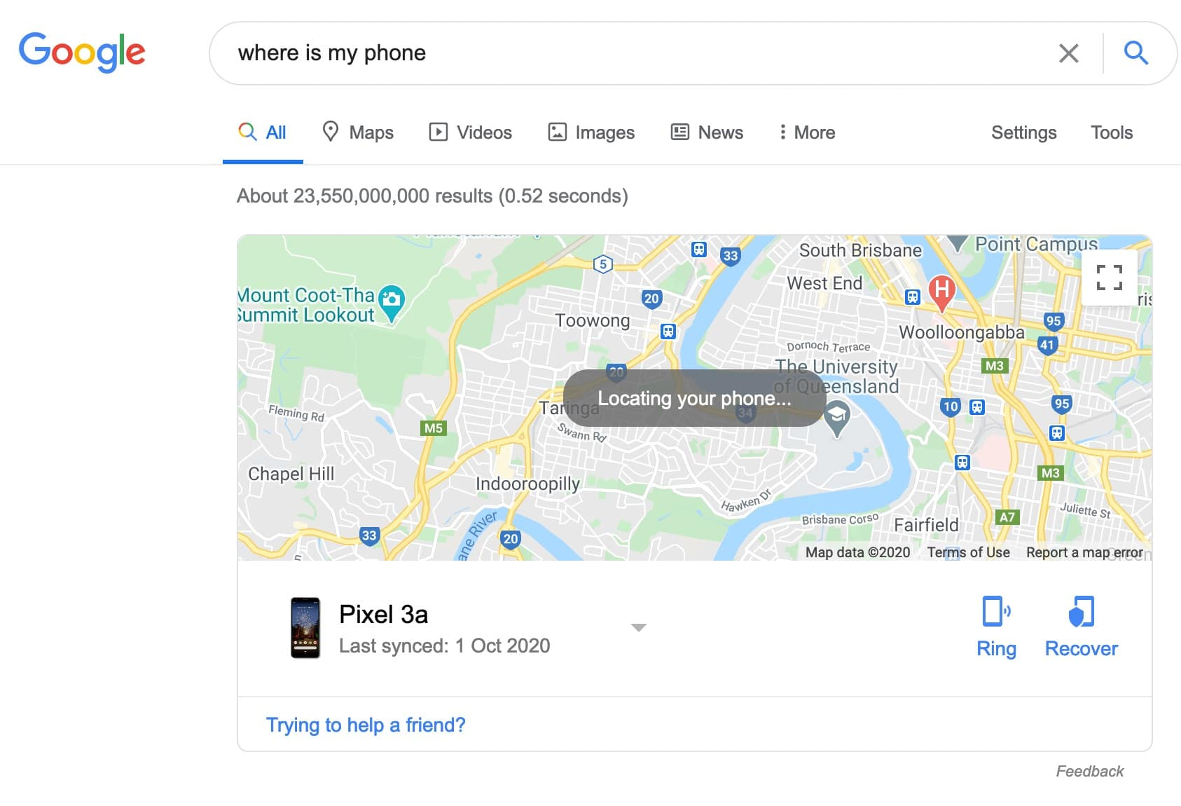 How to find an android phone by googling it