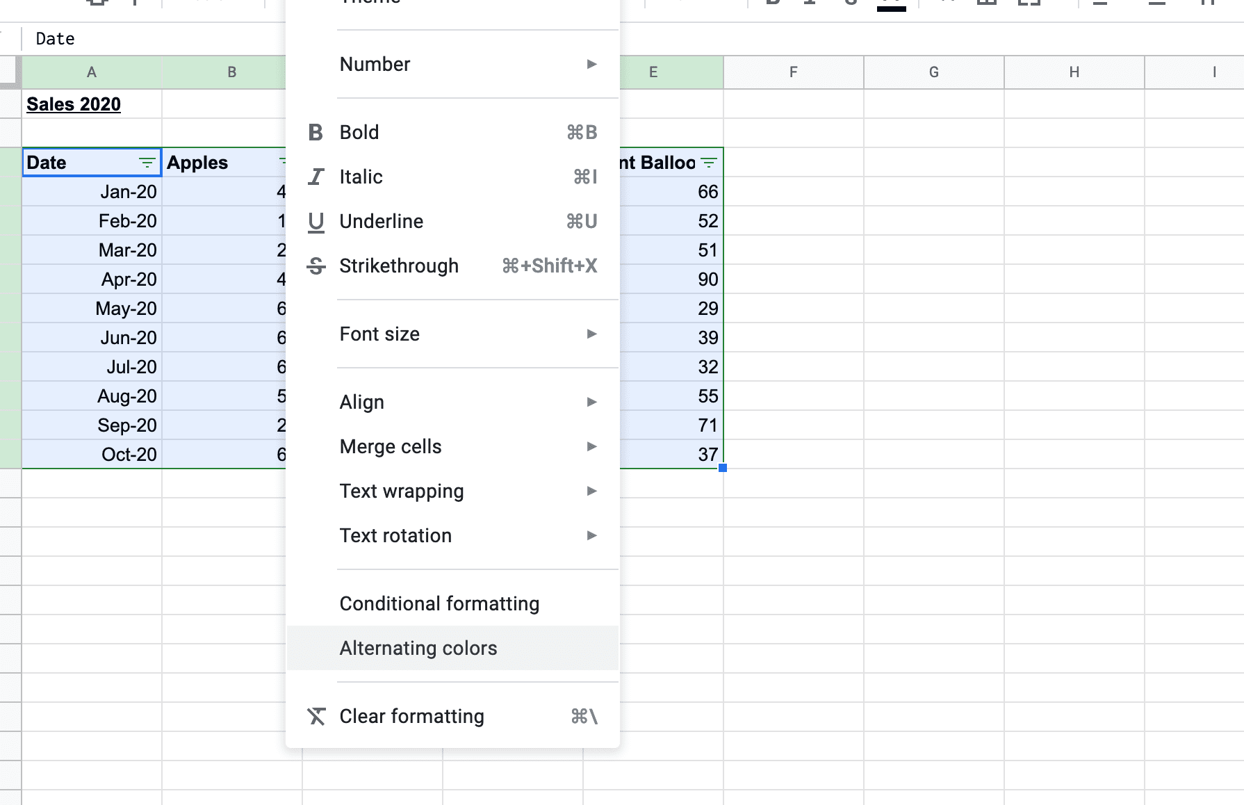 Choosing alternating colours to format a Google Sheets table