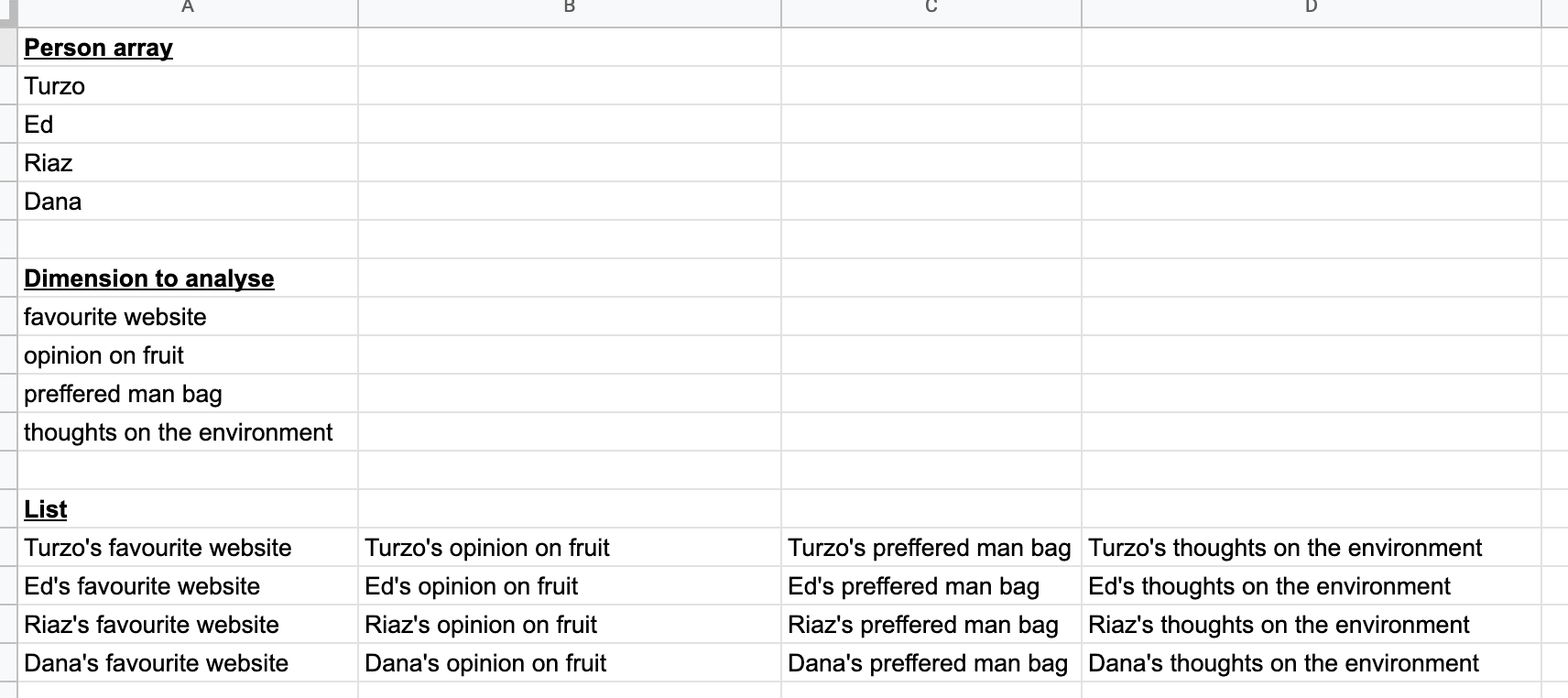Creating dynamic table in Google Sheets example table