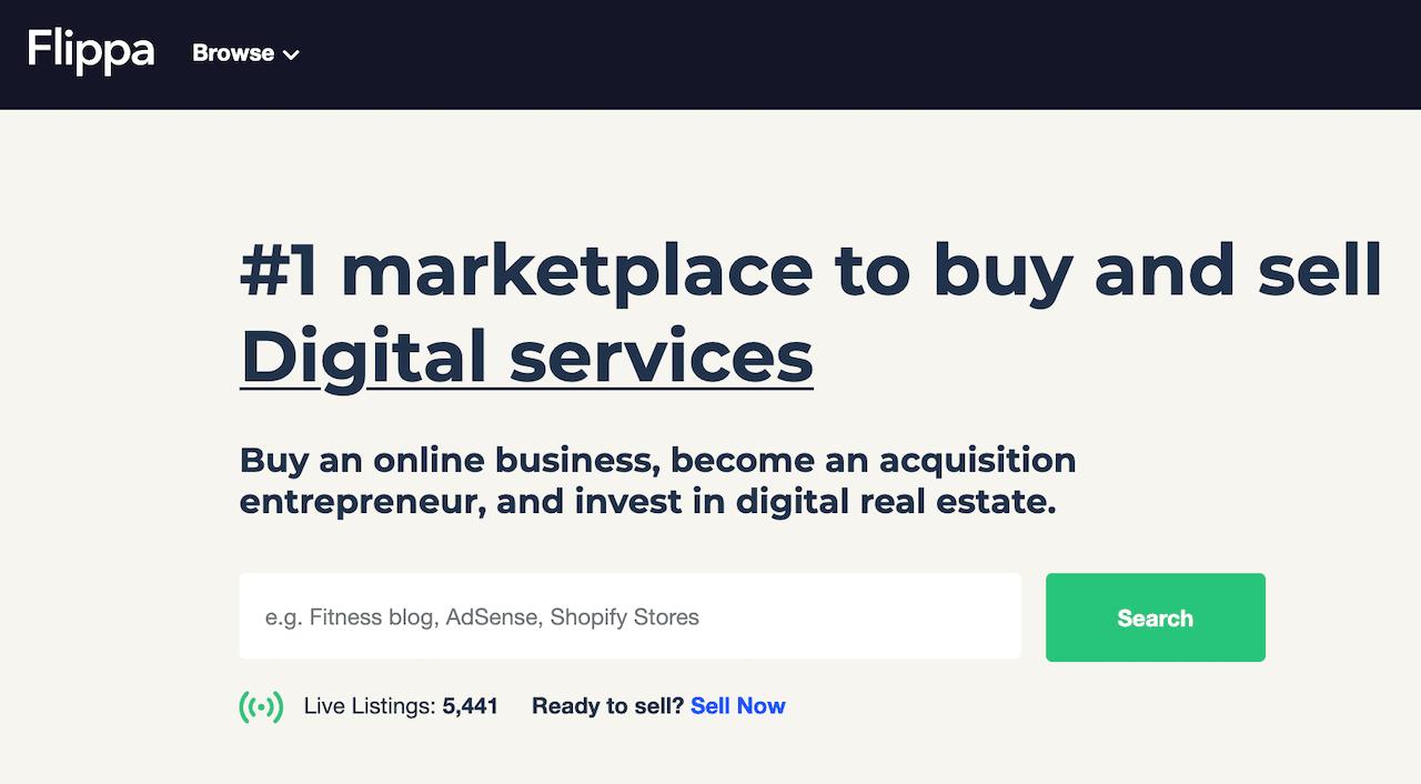 Flippa digital service marketplace screenshot