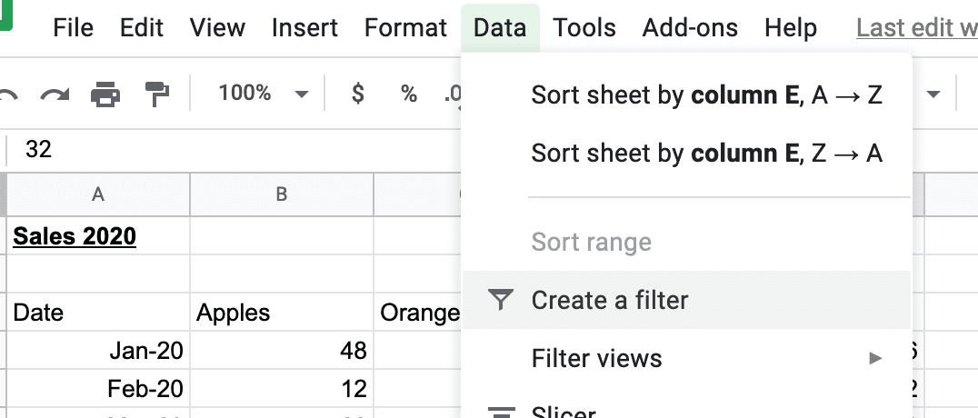 Create a filter in Google Sheets like a table