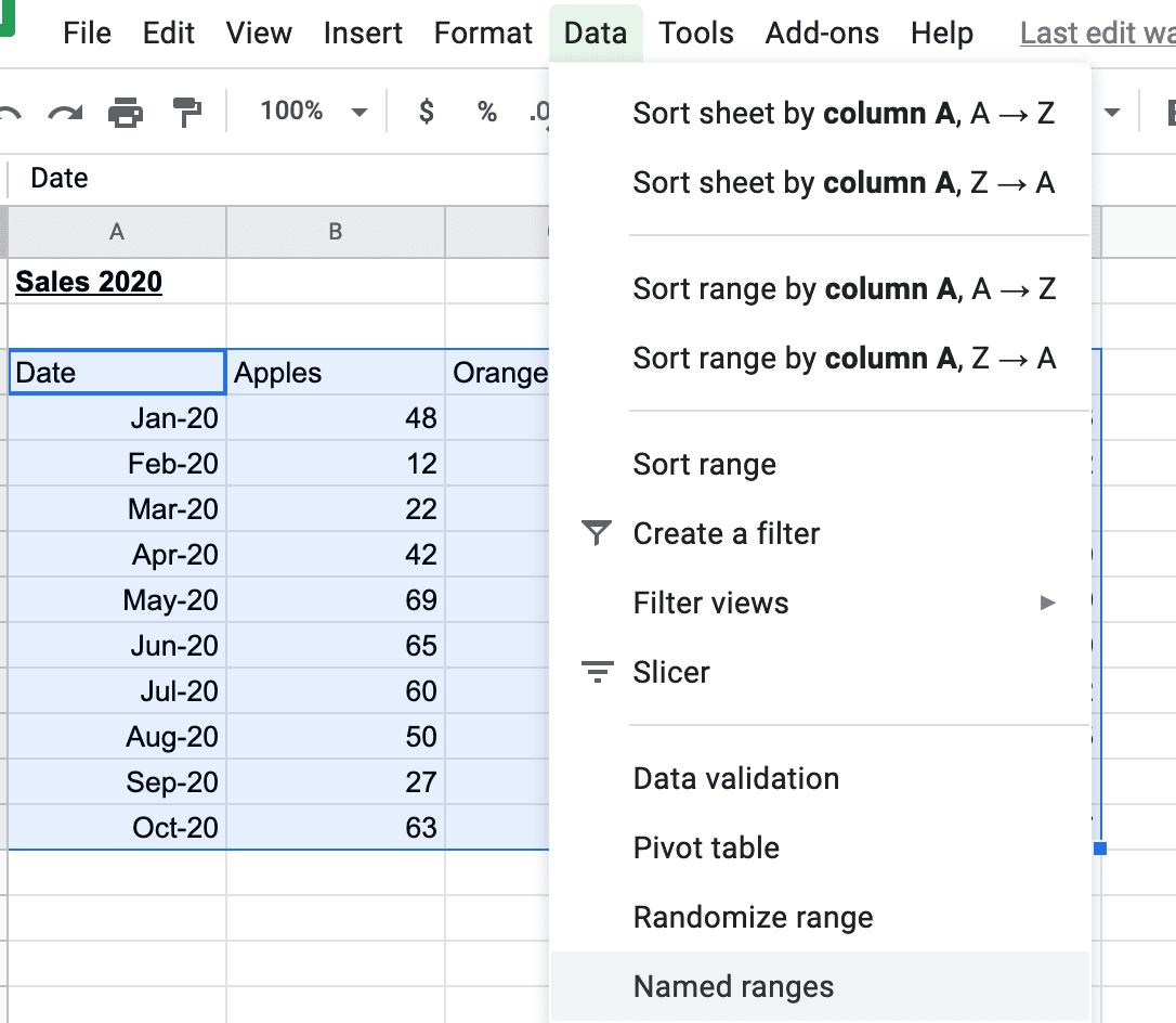 Creating named ranges in Google Sheets