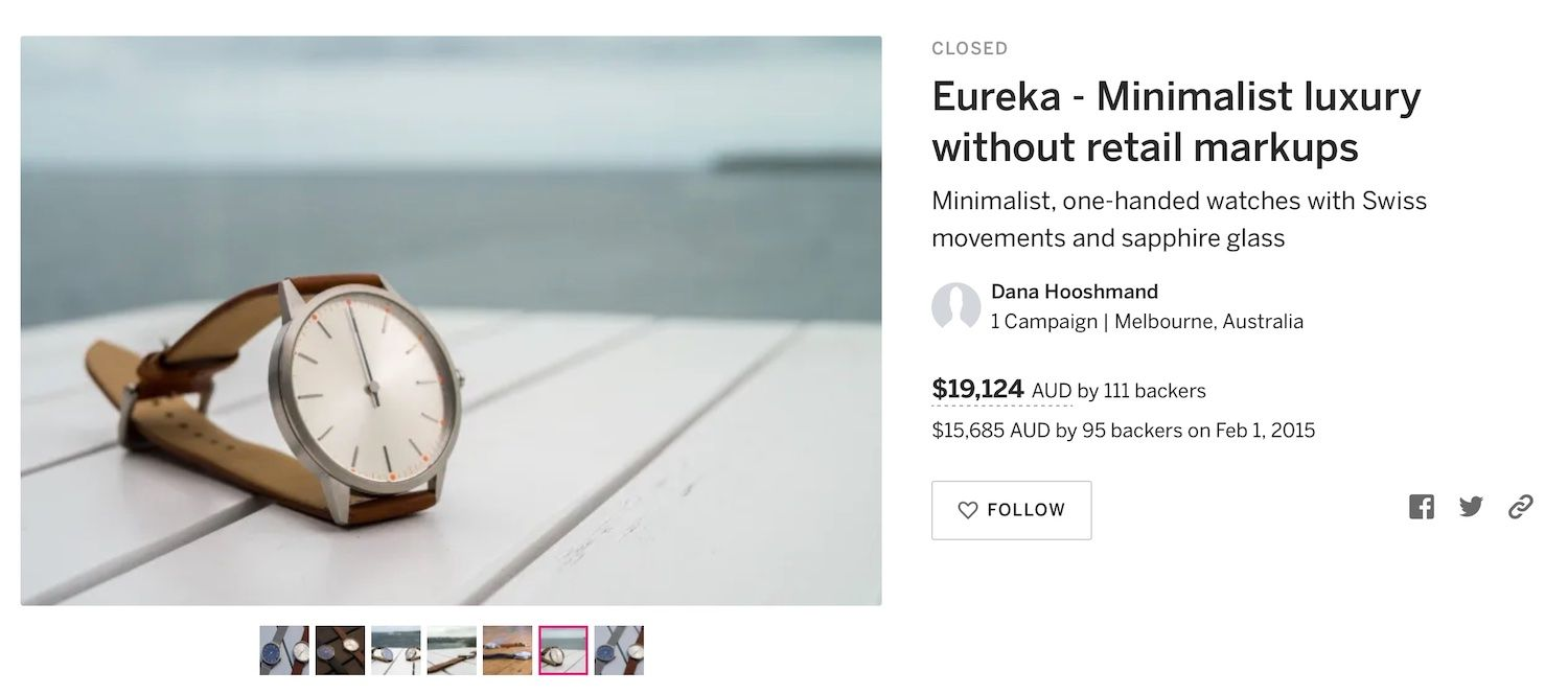 Image from Eureka Watch Co's Indiegogo campaign